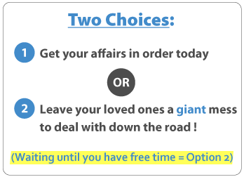 two choices: get affairs in order today or leave your loved ones a giant mess